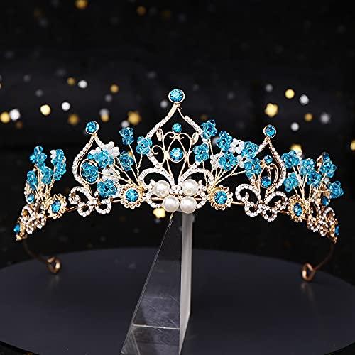 Clips de pelo La Nueva Princesa Corona Flor Perla Azul Cristal Diadema...