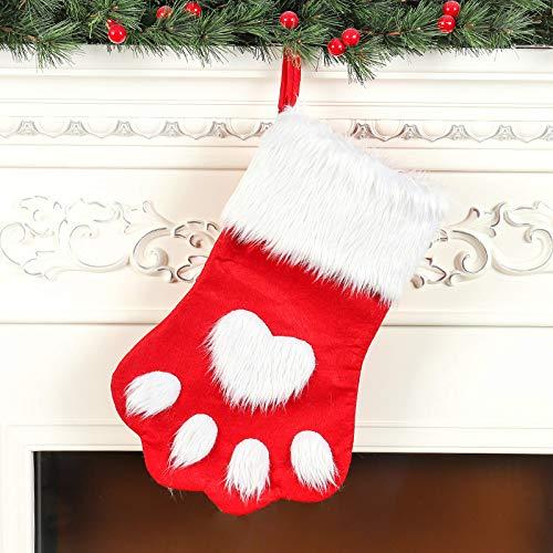Año Nuevo Navidad Pata de Perro Calcetín de Navidad Grande Navidad Rojo Gris Pelo Largo Pata de Perro Calcetines Calcetines de Navidad Bolsa de Regalo