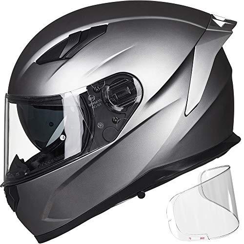 ILM Motorcycle Snowmobile Full Face Helmet Pinlock Insert Anti-fog Dual Visor Motocross ATV Casco for Men Women DOT (Matte Gray, XL)