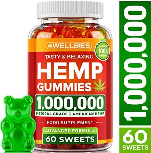 Premium Hemp Gummies - Natural Hemp - Made in USA - King Size 1,000,000 - Boost Memory Function, Improved Sleep, Support Good Mood - Fast Results - Vitamins B, E, Omega 3, 6, 9