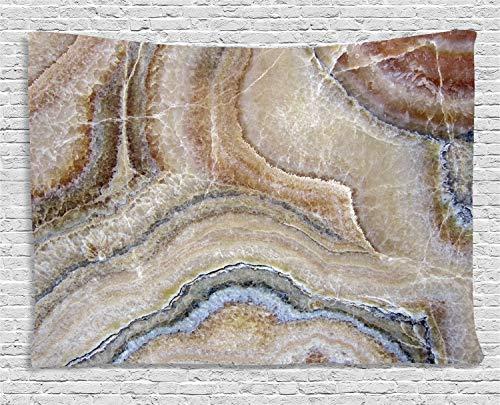 ABAKUHAUS Marmor Wandteppich, Surreale Onyx-Oberfläche, Wohnzimmer Schlafzimmer Heim Seidiges Satin Wandteppich, 200 x 150 cm, Zimt Beige Grau Tan