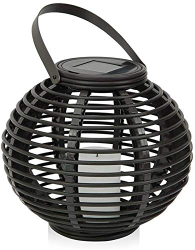 Solar Lights Flashing LED Candle Lights with Decorative Outdoor Rattan Garden Park can be Used for Home Garden Terrace Garden Lights,Black