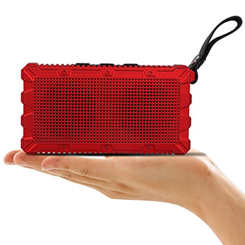 Portable Wireless Bluetooth Speaker IP67 Waterproof Mini Pocket-Sized Powerful Sound Outdoor Speaker, Handsfree Calling, Enchanced Deep Bass, 8-Hour Playtime (Red)