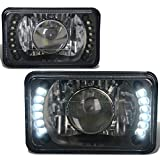 2Pcs 4X6 Inch Glass Lens Bult-In LED Black Housing Projector Headlight Lamps