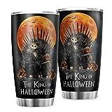 Ouniaodao Vaso Jack el rey de Halloween, con aislamiento al vacío, con recubrimiento de polvo duradero, para el hogar, taza de café blanca, 30 onzas