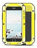 iPhone 8 Plus Funda, Love Mei Antichoque Al aire libre Tarea pesada Híbrido Aluminio Metal Armadura Antipolvo Carcasas para iPhone8/7 Plus con protector de pantalla de vidrio templado (Amarillo)