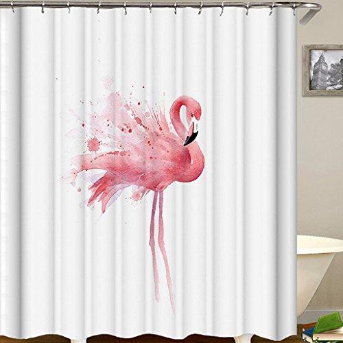 OldPAPA Duschvorhang, 100prozent Polyester, Anti-Bakteriell, Wasserabweisend, Waschbar, Flamingos Duschvorhang aus Stoff mit 12 Duschvorhangringe,180x180cm