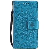 YSIMEE Funda Sony Xperia M5,Carcasa Libro de Cuero con Tapa Ultra Delgado Billetera Cartera Ranuras de Tarjeta,Soporte Plegable,Cierre Magnético Flip Cover Para Sony Xperia M5 -Azul