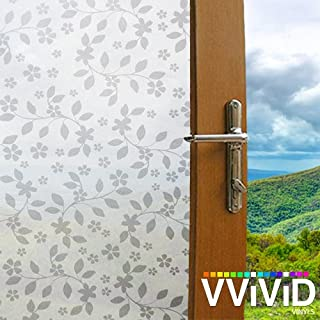 VViViD White Petunia Vines Floral Pattern Privacy Window Vinyl Film Decorative Decal for Bathroom, Kitchen, Home, Office DIY Easy to Install Mess-Free Adhesive (48 Inch x 6.5ft)