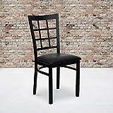 Flash Furniture 2 Pack HERCULES Series Black Window Back Metal Restaurant Chair - Black Vinyl Seat