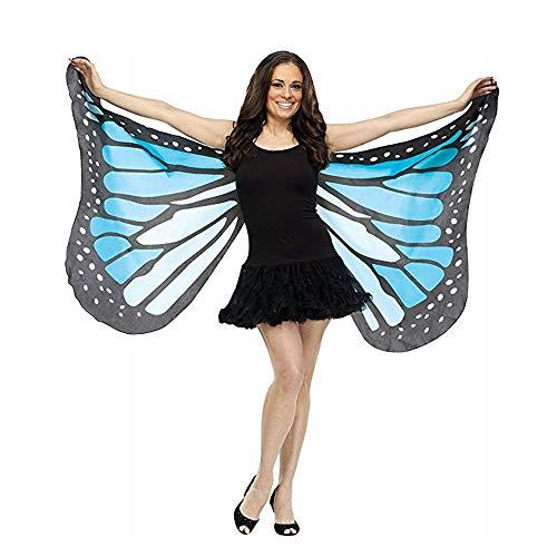 MIRRAY Damen Karneval Kostüme Schmetterlings Flügel Schal Schals Nymphe Elf Poncho Kostüm Zusatz Mehrfarbengrün Rosa Rot Blau Purpur Heißes Rosa (147 * 70CM, Blau-2)