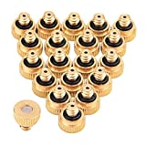 Sunmns 20 Pack Brass Misting Nozzles for Outdoor Cooling System and Greenhouse Landscaping Dust Control, 0.012 Inch Orifice (0.3 mm) 10/24 UNC