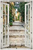 Wallario Garten-Poster Outdoor-Poster 80 x 120 cm mit Fenster-Illusion: Alte steinerne Gasse in Südfrankreich in Premiumqualität, für den Außeneinsatz geeignet