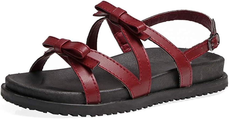 JOYBI Womens Fashion Platform Sandals Buckle Strap Comfort Slip On PU Bows Casual Open Toe Flat Sandal shoes