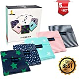 Folding Reusable Grocery Bags 5 Pack - 25'x15.5' Capacity - Washable, Waterproof Nylon holds Heavy Groceries - Foldable Tote Bag is 5.3'x 5.3' Folded - Eco-Friendly Shopping Bag fits in Pocket
