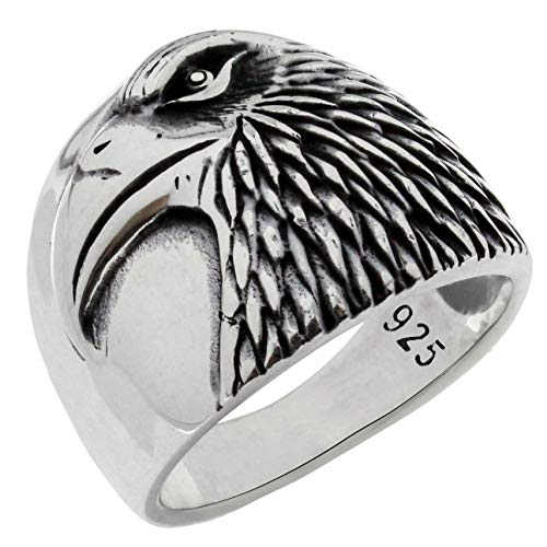 Solid 925 Sterling Silver Eagle Head Patriotic USA Bird American Symbol Novelty Band Ring for Men (11)