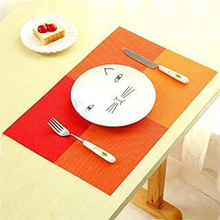 シンプルライフ、ライフアシスタント 2ピースpvcダイニングテーブルプレースマットヨーロッパスタイルキッチンツール食器パッドコースターコーヒーティープレイスマット(オレンジ)、サイズ:44.7x30cm (色 : オレンジ)