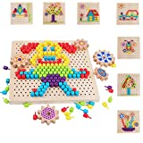 QZMTOY Fine Motor Toys for Kids, 257 pcs Mushroom Nails Shape Pattern Blocks, Color Matching Game, Wooden Board Peg Mosaic Puzzles, Montessori STEM Toys for Boys & Girls, Gift for Age 3 4 5 6 7 Years