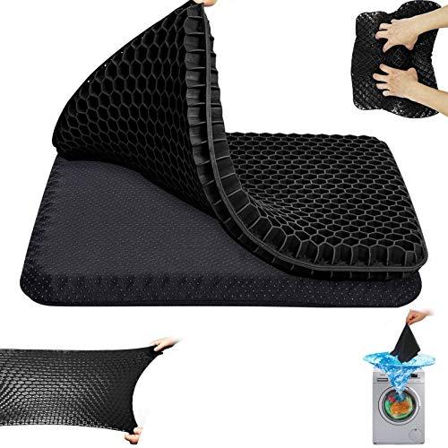 Gel-Sitzkissen, doppelt Dickes Gel-Sitzkissen Sitzkissen mit rutschfestem Bezug Atmungsaktives Waben-Schmerzlinderung-Sitzkissen für Bürostuhl-Autorollstuhl (Schwarzes Kissen)