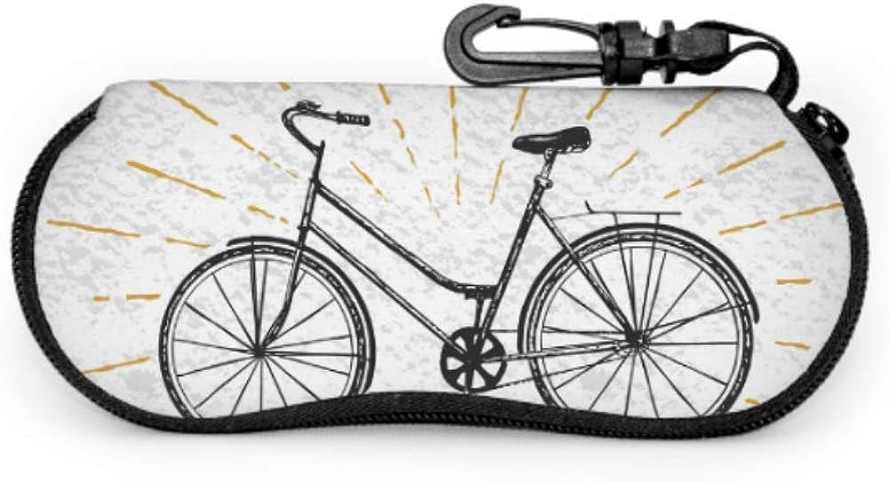 Bicycle With Basket Of Flower Boys Eyeglass Case Travel Sunglass Case Light Portable Neoprene Zipper Soft Case Sunglasses Women Case