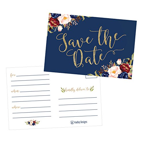 25 Navy Floral Save The Date Cards For Wedding, Engagement, Anniversary, Baby Shower, Birthday Party, Flower Save The Dates Postcard Invitations, Simple Blank Event Announcements …