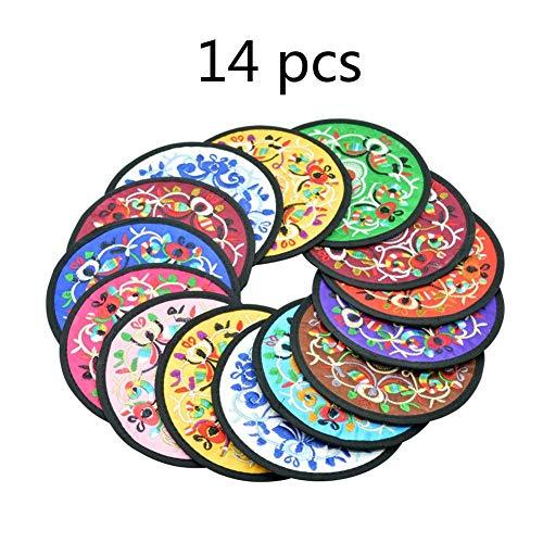 YASE-König Chinese Wind Stickerei-Blumen-Untersetzer Kleine Geschenke Souvenirs Folk Arts and Crafts Durchmesser 13cm Farbe Random (14pcs)