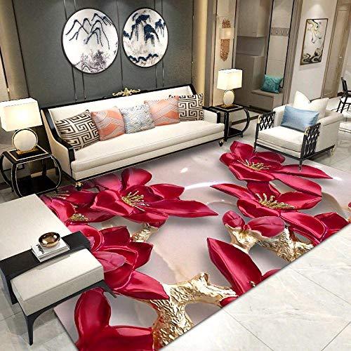 SYFANG teppichmschlafzimmer,3D rote Blumen,Großer Teppich New Modern Soft Thick Carved Teppich Skinless Runner Schlafzimmer Wohnzimmer Teppichmatte