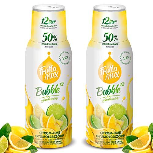 Frutta Max Getränkesirup Frucht-sirup Konzentrat   Zitrone-Limette Geschmack   weniger Zucker   mit 50% Fruchtanteil   für Soda Maschine geeignet 2erPack(2x500ml)
