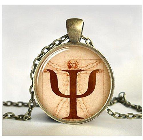 PSI-Symbol-Halskette, Psychologie-Anhänger, Schmuck, Geschenk für Psychologen, Foto, Bild, Anatomie, Kunstschmuck, Glasschmuck