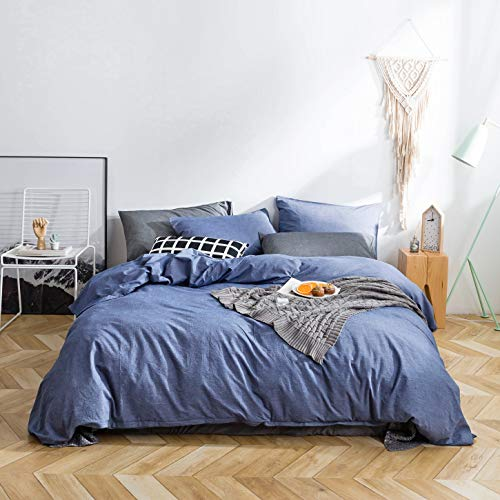 SUSYBAO 3 Pieces Duvet Cover Set 100% Natural Washed Cotton Denim Blue King Size 1 Duvet Cover 2 Pillowcases Luxury Quality Durable Ultra Soft Breathable Fade Resistant Bedding Set with Zipper Ties
