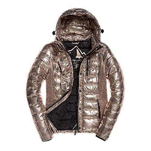 Superdry Jacke Damen Fuji Slim Double Ziphood Rose Gold Spot Metallic, Größe:S