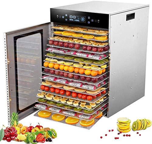LLDKA Deshidratador De Alimentos, Secado Uniforme De 360 °, Microordenador TáCtil por Infrarrojos, 30-90 ° C Ajustable, Temporizador De 24 Horas,16Layers