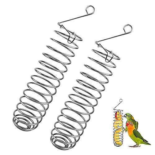 MOPOIN Alimentador de Pájaros en Espiral Acero Inoxidable Cesta de Frutas para Loros de Acero Inoxidable, comedero para pájaros de Juguete, comedero para Frutas Colgante para periquitos, cotorras