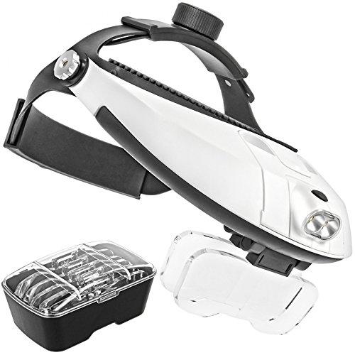 Impulsfoto Profi Stirnlupe Brillenlupe mit verstelbarem KOPFBÜGEL Kopflupe mit Doppel LED Beleuchtung und 5X High Definition Vergrößerungsgläser