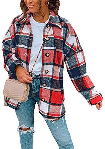 YMING Frauen Kariertes Hemd Oversized Mode Boyfriend Bluse Casual Plaid Jacke Kurz Hemdbluse Rot XXL