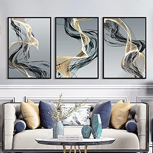 Line Luxury Nordic Canvas Art Painting Decoración para el hogar Póster Artístico de pared e impresión Arte minimalista para el diseño de fondo de dormitorio 40x50cmx3 noframe