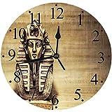 Yaoni Silencioso Wall Clock Decoración de hogar de Reloj de Redondo,Egipcio, Piedra Faraón Tutankamón Máscara Escultura Papiro Diseño de Fondo, Marrón y Marrón,para Hogar, Sala de Estar, el Aula