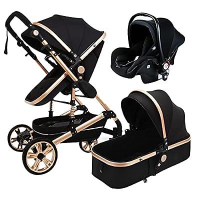 HZPXSB Cochecito de bebé 3 en 1 High Landscape Stroller Reclink Baby Carriage Cochecito Plegable Puchchair Coche recién Nacido Marco de Aluminio (Color : Black Gold)