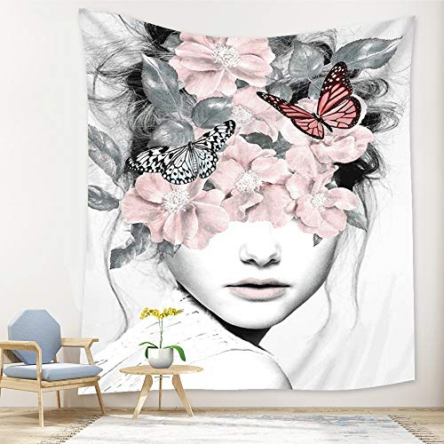 PuzCub Beauty Woman Face Outline Tapestry Mural Wall Hanging Abstract Watercolor Print Style Tapestries Grey White Illustration Hippie Tapestry for Home Decor Bedroom Living Room Dorm Room