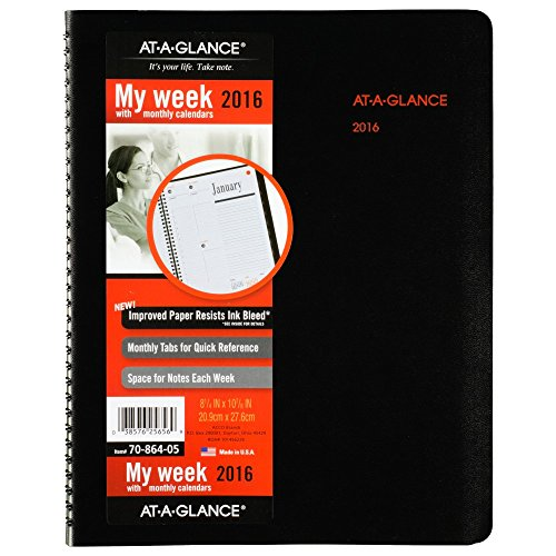AT-A-GLANCE Weekly / Monthly Appointment Book / Planner 2016, 8-1/4 x 10-7/8 Inches, Black (70-864-05)
