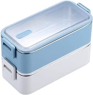 Contenitore Alimentare,Lunch Box Portatile Doppio in Acciaio inox 304 a Doppio Isolamento,/ per Adulti Bambini,Blue Bambini