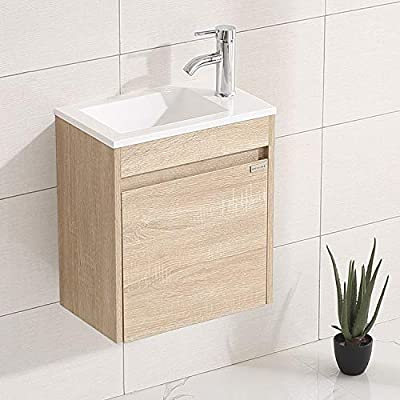 "WONLINE 15.7"" Small Bathroom Vanity Set Wall Mounted Fully Assembled Cabinet with Sink for Small Space Combo Chrome Faucet"