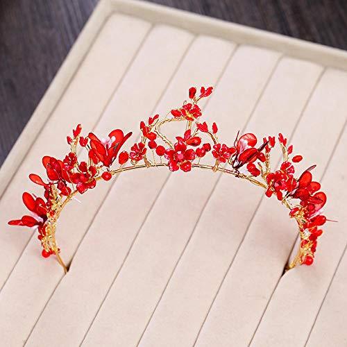Tiara Aleación Rhinestone Crystal Rojo Tocado Corona Nupcial Flores Boda Boda Simple Moda Mujer Accesorios para El...