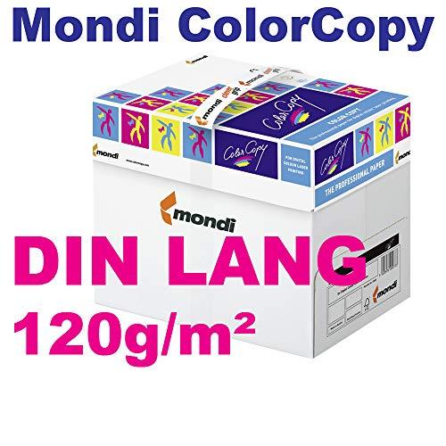 Mondi ColorCopy DIN LANG 120g/m² VE = 125 Blatt Papier weiß für Laserdrucker und InkJet geeignet