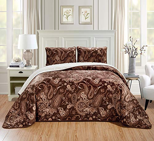 Chezmoi Collection 3-Piece Velvet Sherpa Quilt Set - Lightweight Warm Cozy Fluffy Plush Reversible Bed Blanket Comforter - Queen, Paisley Brown
