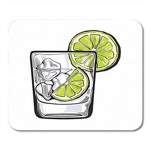 Mauspads Glas Gin Wodka Sodawasser EIS und Kalk Skizze Realistischer Alkohol Schuss schaukelt Scheiben Mousepad für Laptop,Tischrechner Zusatz Minibüroartikel Mäusematten 30X25CM