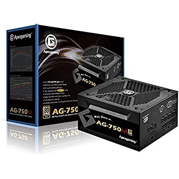 APEXGAMING AG Series Gaming Power Supply (AG-750M), 750W 80 Plus Gold Certified, Fully Modular, Active PFC, Continuous Power 750W, Peak Power 950W