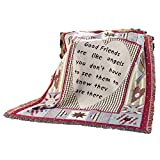 Friends are Like Angels Tapestry Throw Blanket - Patchwork Detail Includes Stars, Hearts, and Diamonds - Gift Ideas for Special Someone
