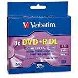 Verbatim DVD+R DL 8.5GB 8X AZO with Branded Surface - 5pk Jewel Case Box - 95311