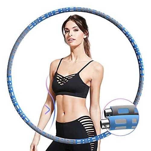 Aikove Hula Hoop Reifen Erwachsene, 95cm Hoola Hoop in 8 Abnehmbarer, Stabiler Edelstahlkern Hullahub mit AAA Schaumstoff, Tragbare Fitness Geräte für Zuhause, Gewichten Einstellbar von 0,9 bis 3,4 kg